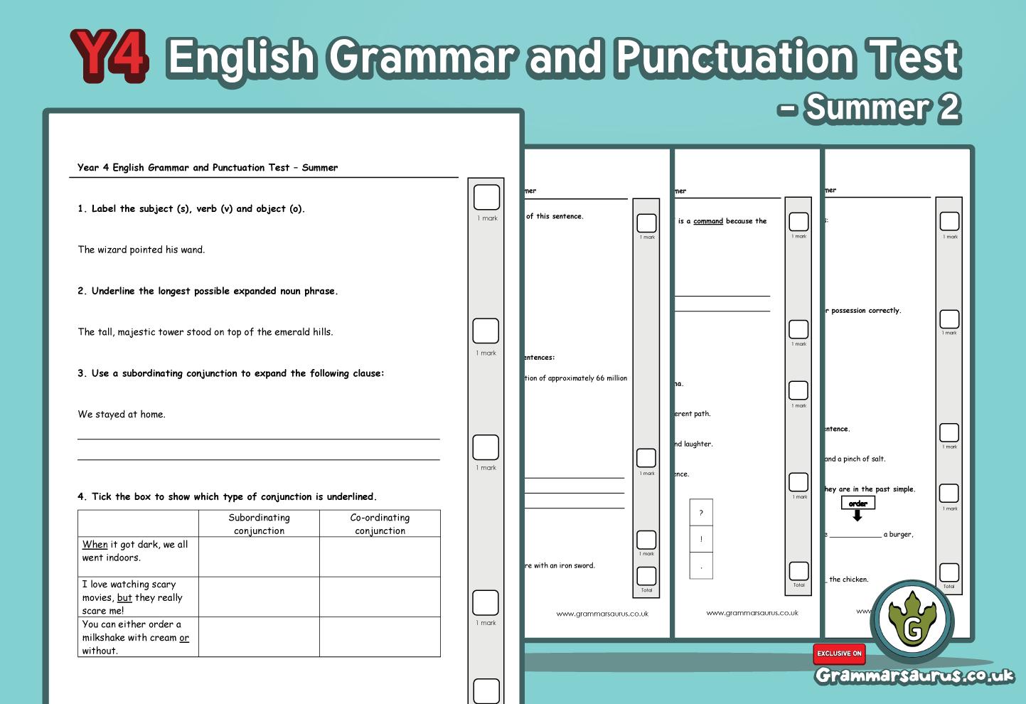 Ks2 Archives Page 16 Of 17 Grammarsaurus Circuit Diagram Year 4 English Spelling Punctuation And Grammar Progress Test Summer 2