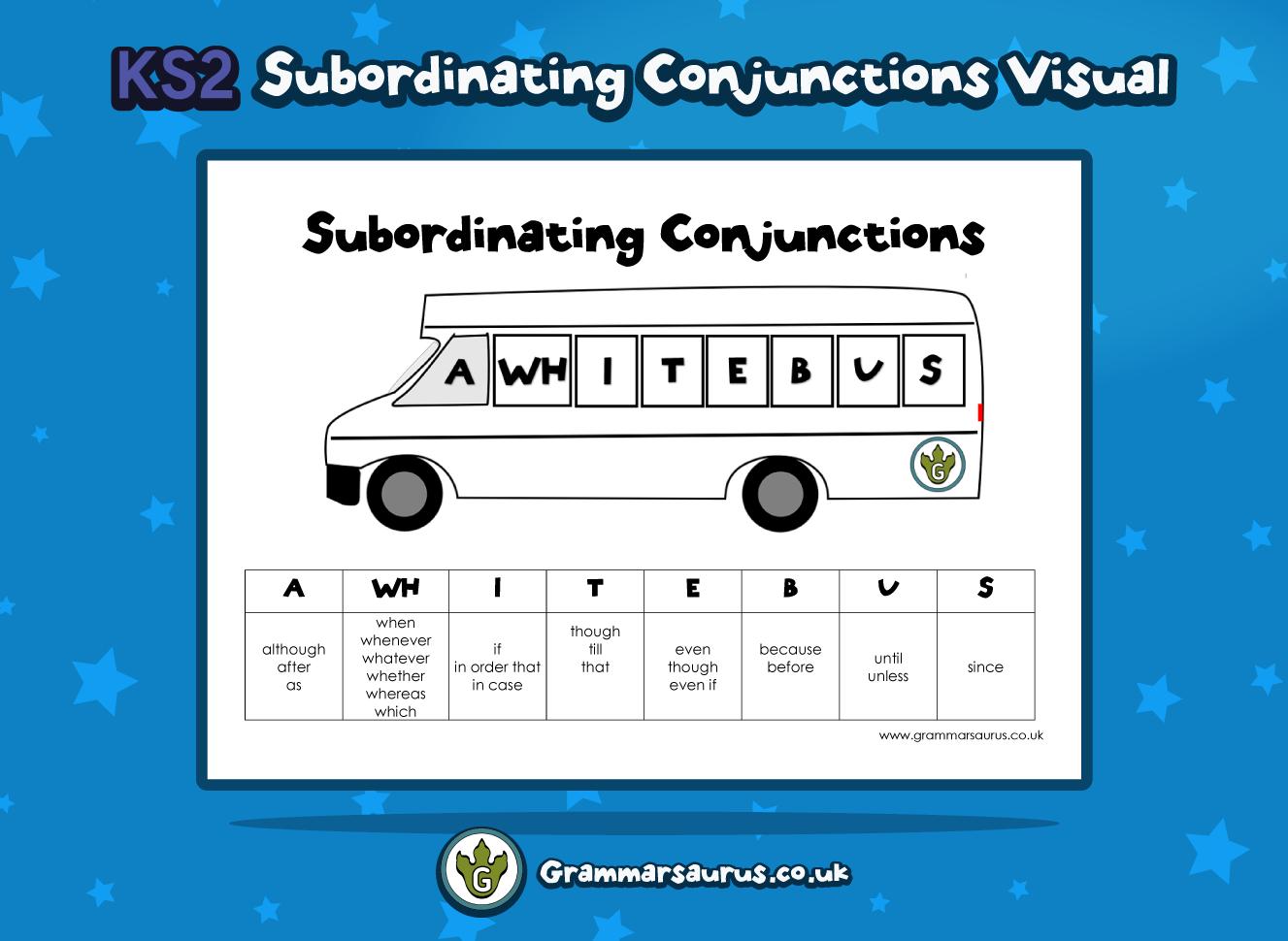 ks2 subordinating conjunctions visual grammarsaurus