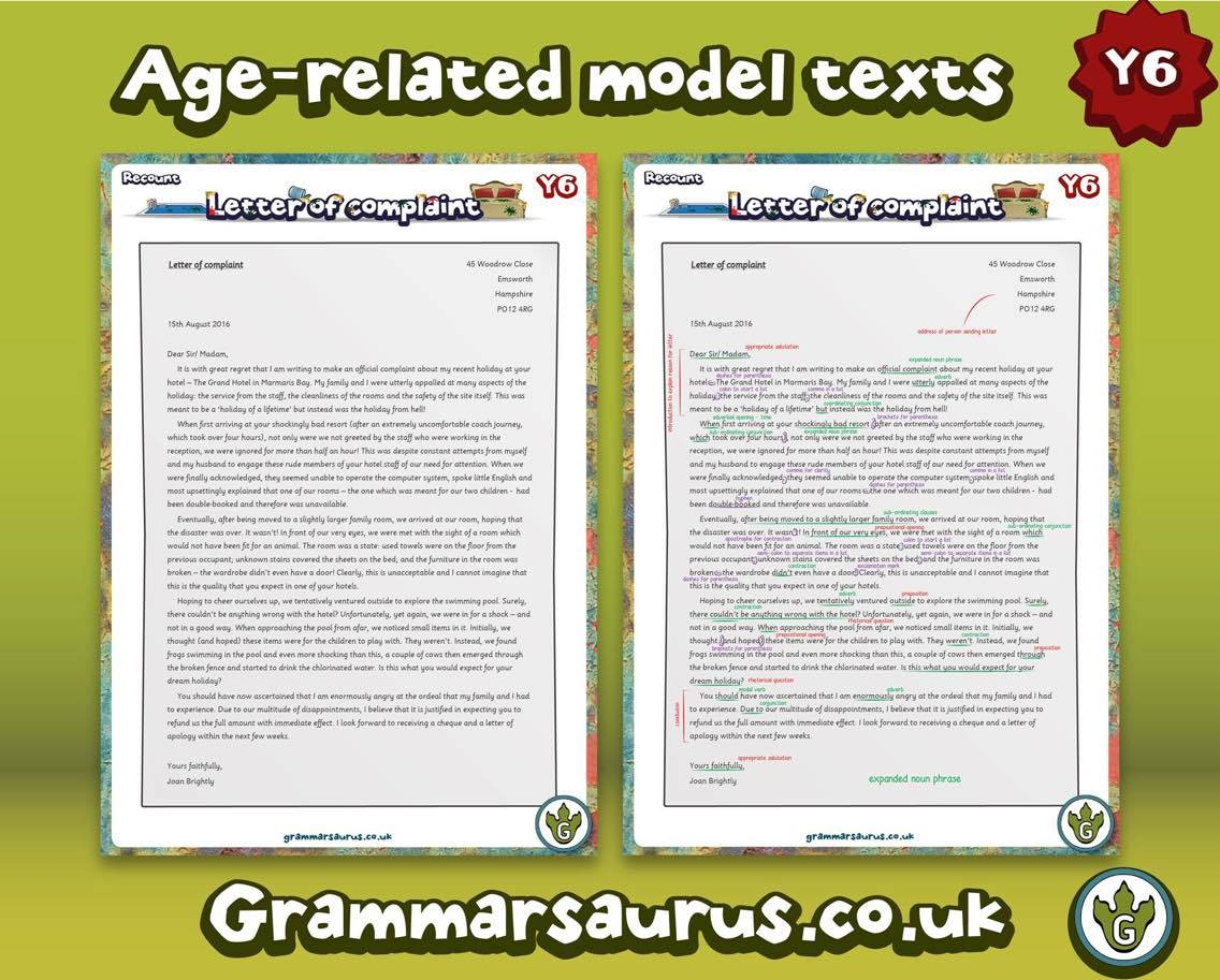 Ks2 archives page 6 of 17 grammarsaurus year 6 model text letter of complaint annotated and blank thecheapjerseys