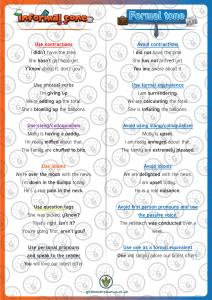 Year 5 6 Formal Informal Word Mat Grammarsaurus
