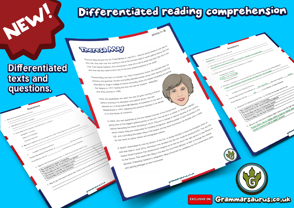 KS2 Differentiated Reading Prehension Theresa May