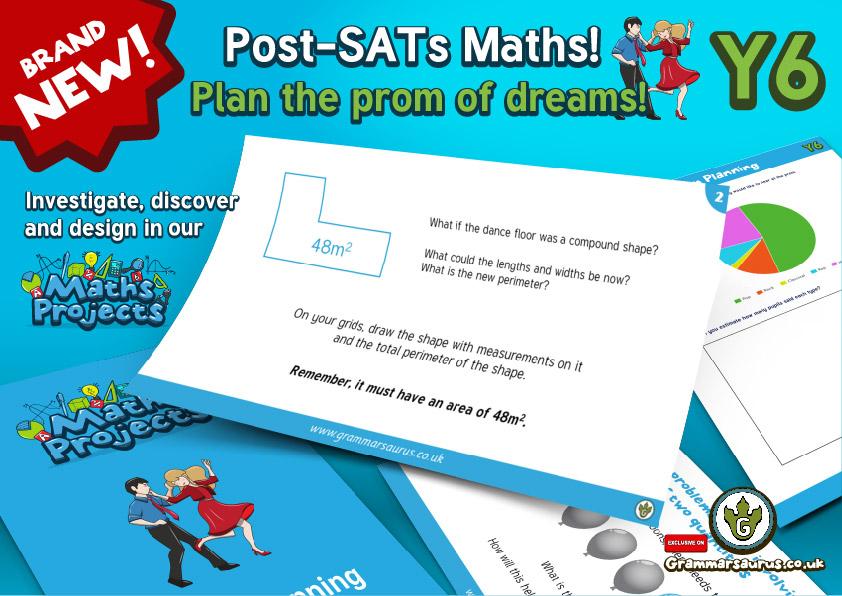 NEW! Year 6 - Post SATs Maths Projects - Prom Planning - Grammarsaurus