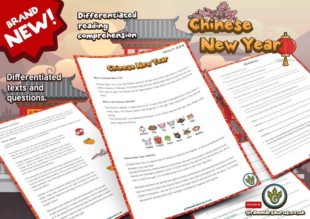 new year 3 reading comprehension pack chinese new year - Chinese New Year 1962