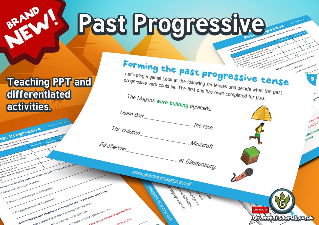 Year 5\/6 - Past Progressive Tense Activity Pack - Grammarsaurus