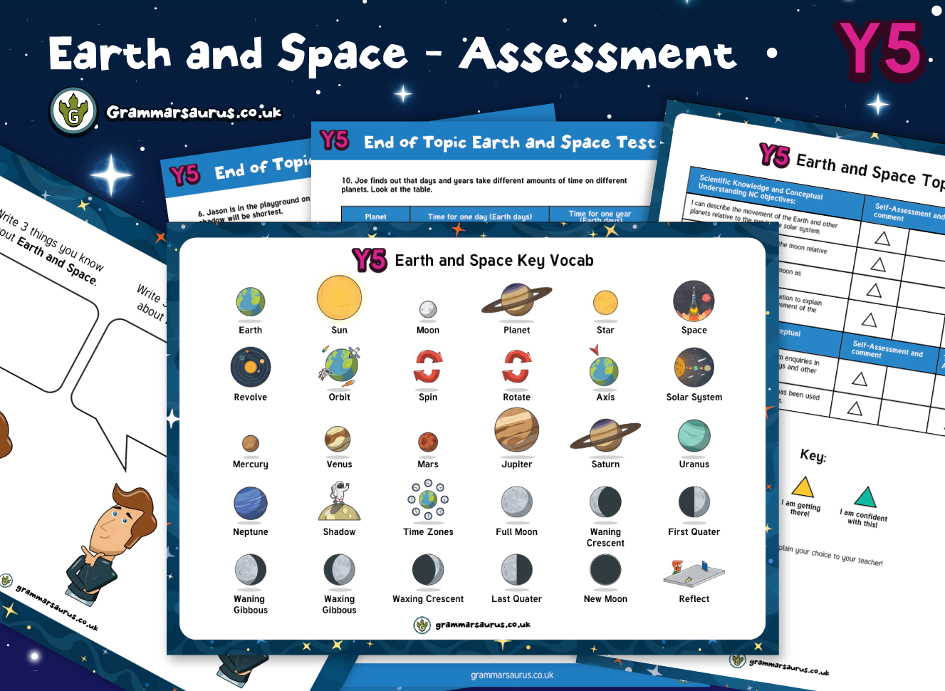 Year 5 Science Earth And Space Assessment Pack Grammarsaurus