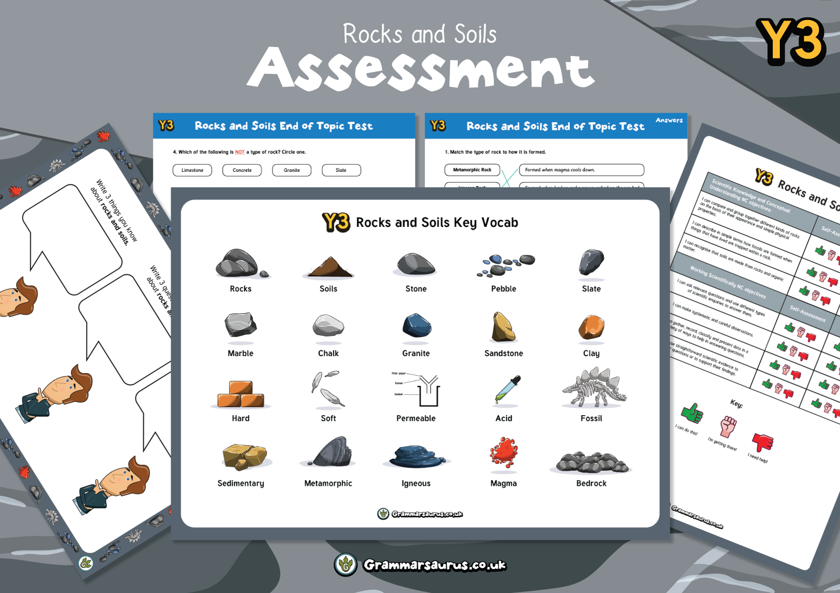 Year 3 Science Rocks And Soils Assessment Pack
