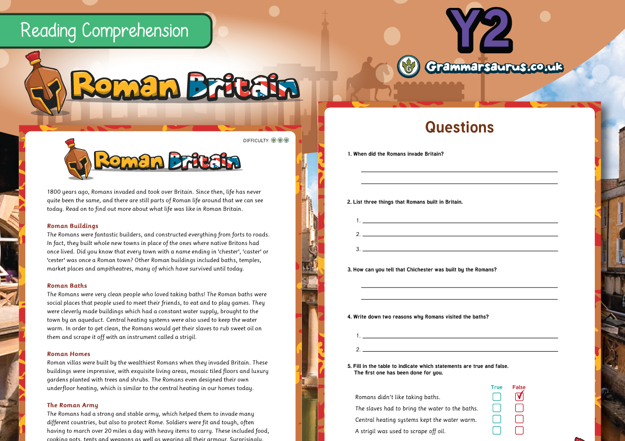 Ks1 Comprehension Packs Archives Grammarsaurus Year 4 Circuit Components Word Mat Science Electricity Ks2 2 Differentiated Reading Roman Britain