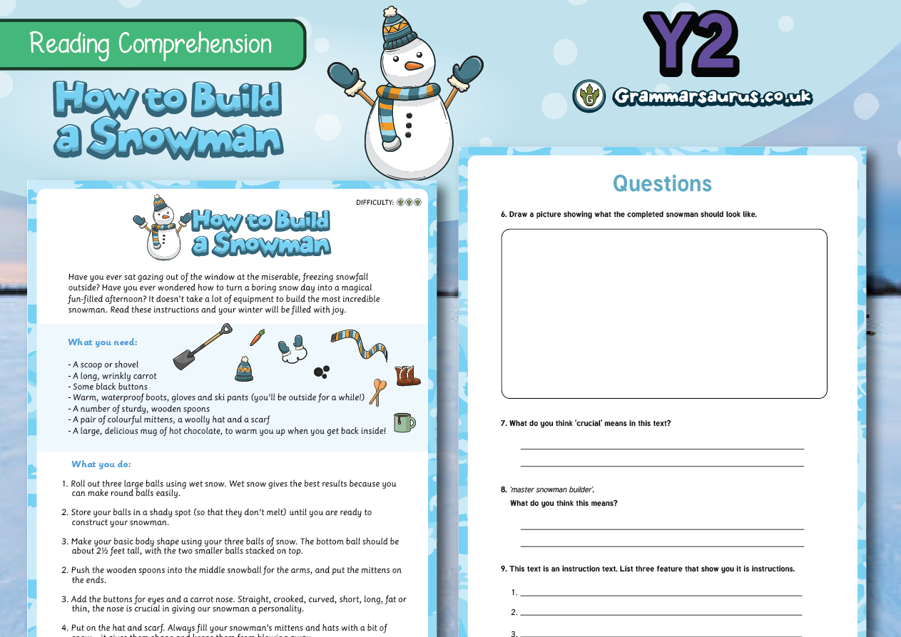 Ks1 Comprehension Packs Archives Grammarsaurus Year 4 Circuit Components Word Mat Science Electricity Ks2 2 Differentiated Reading How To Build A Snowman
