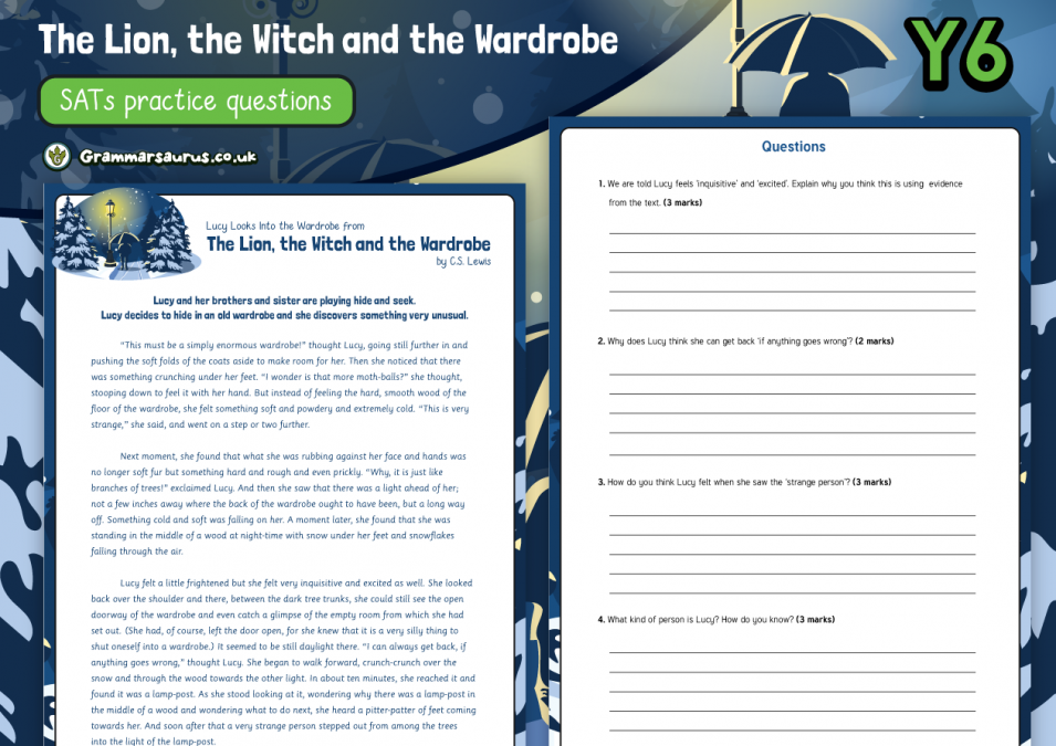 Year 6 SATs Reading Practice Pack - The Lion, the Witch and