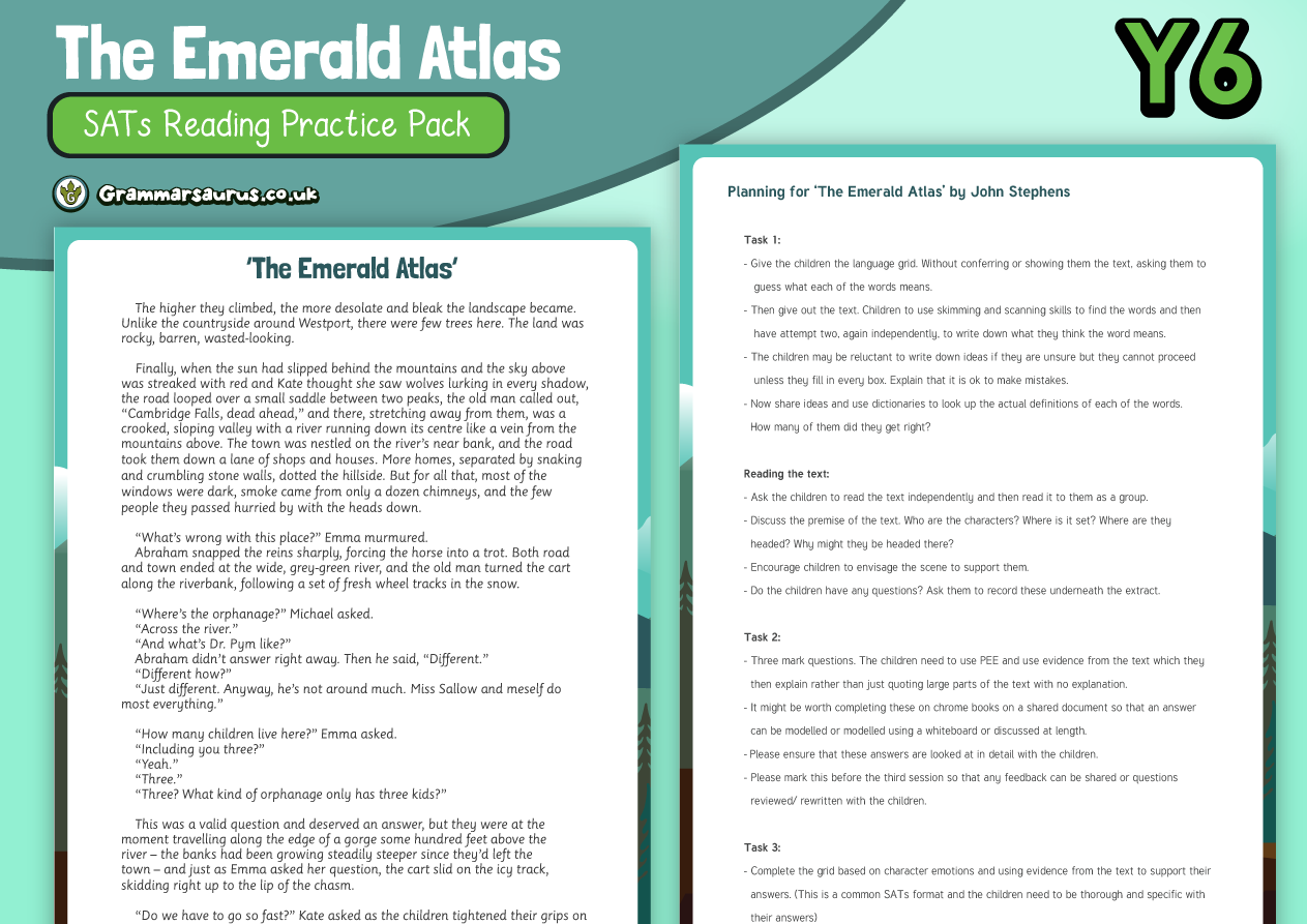 Year 6 SATs Reading Practice Pack The Emerald Atlas