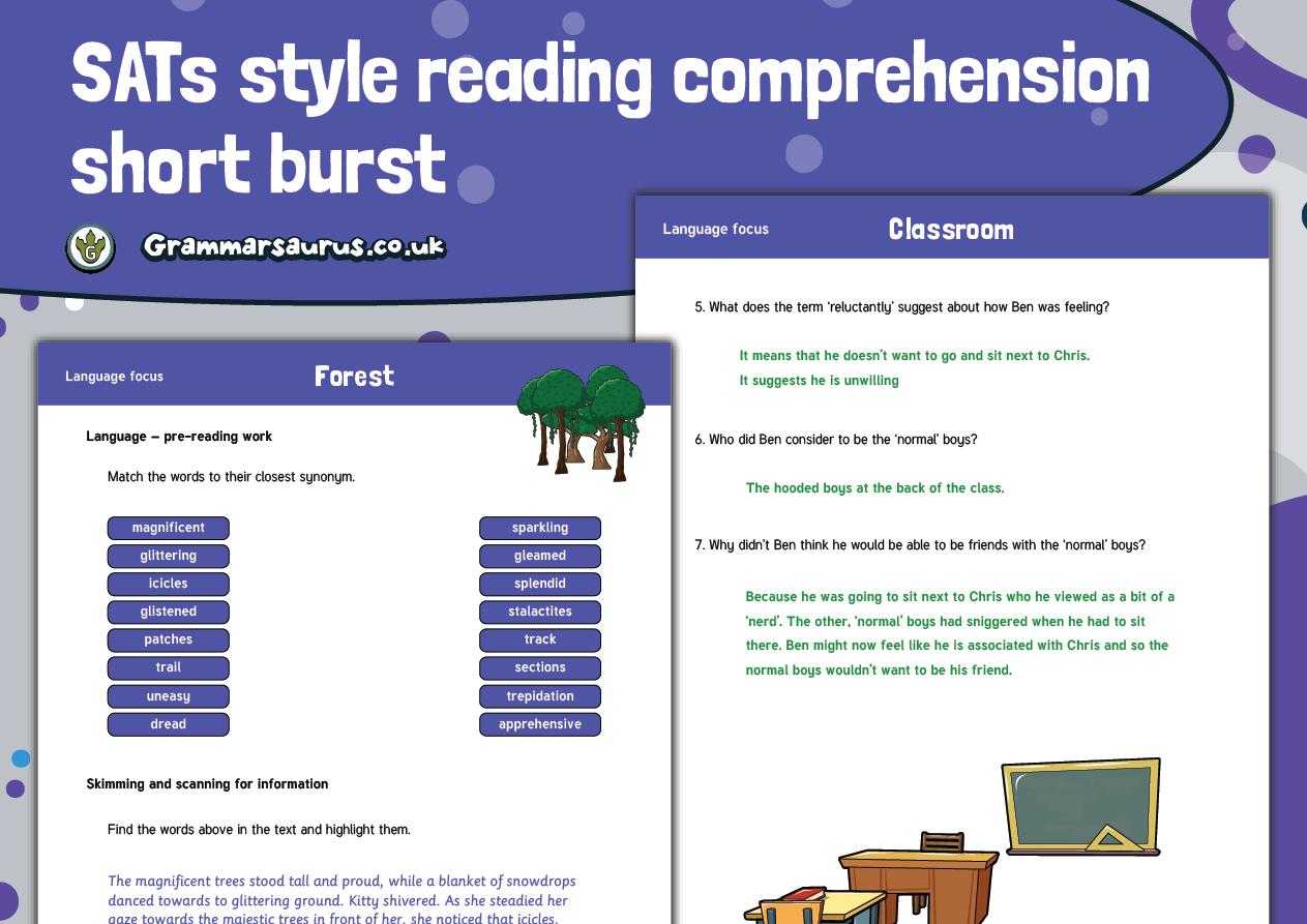 Year 6 SATs Reading Practice Pack Short Burst Grammarsaurus
