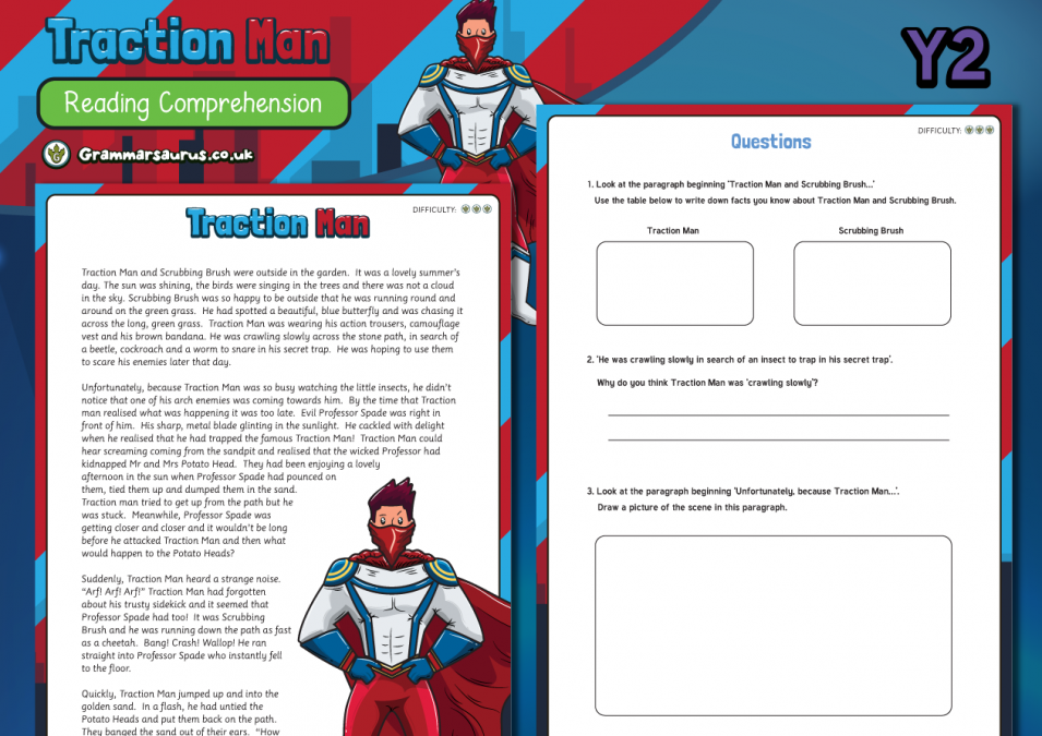 Year 2 Reading Comprehension - Traction Man Story ...