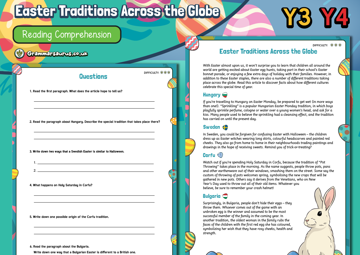 - Year 3/4 Reading Comprehension - Easter Traditions Across The