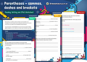 Year 5/6 Parentheses – Commas, Dashes and Brackets