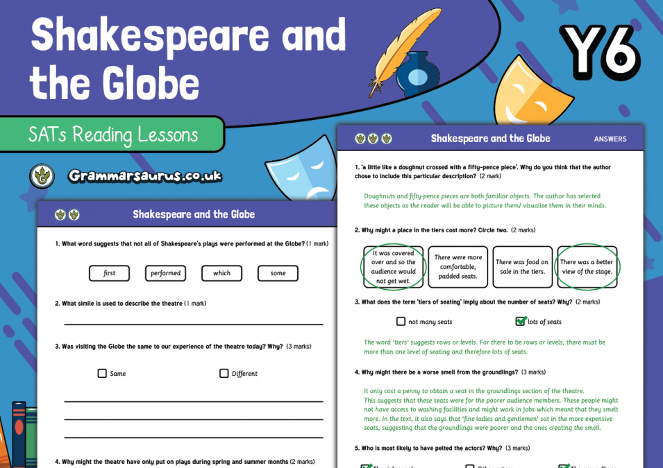 Year 6 SATs Reading Practice Pack The Globe Theatre