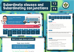 Year 3/4 Subordinate Clauses and Subordinating Conjunctions Resource Pack
