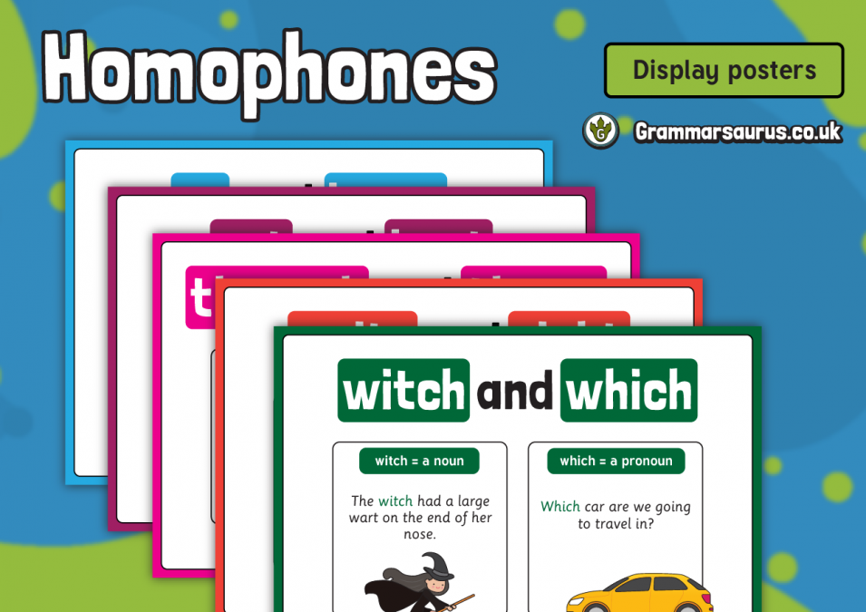KS2 Homophones Display Poster Pack - Grammarsaurus