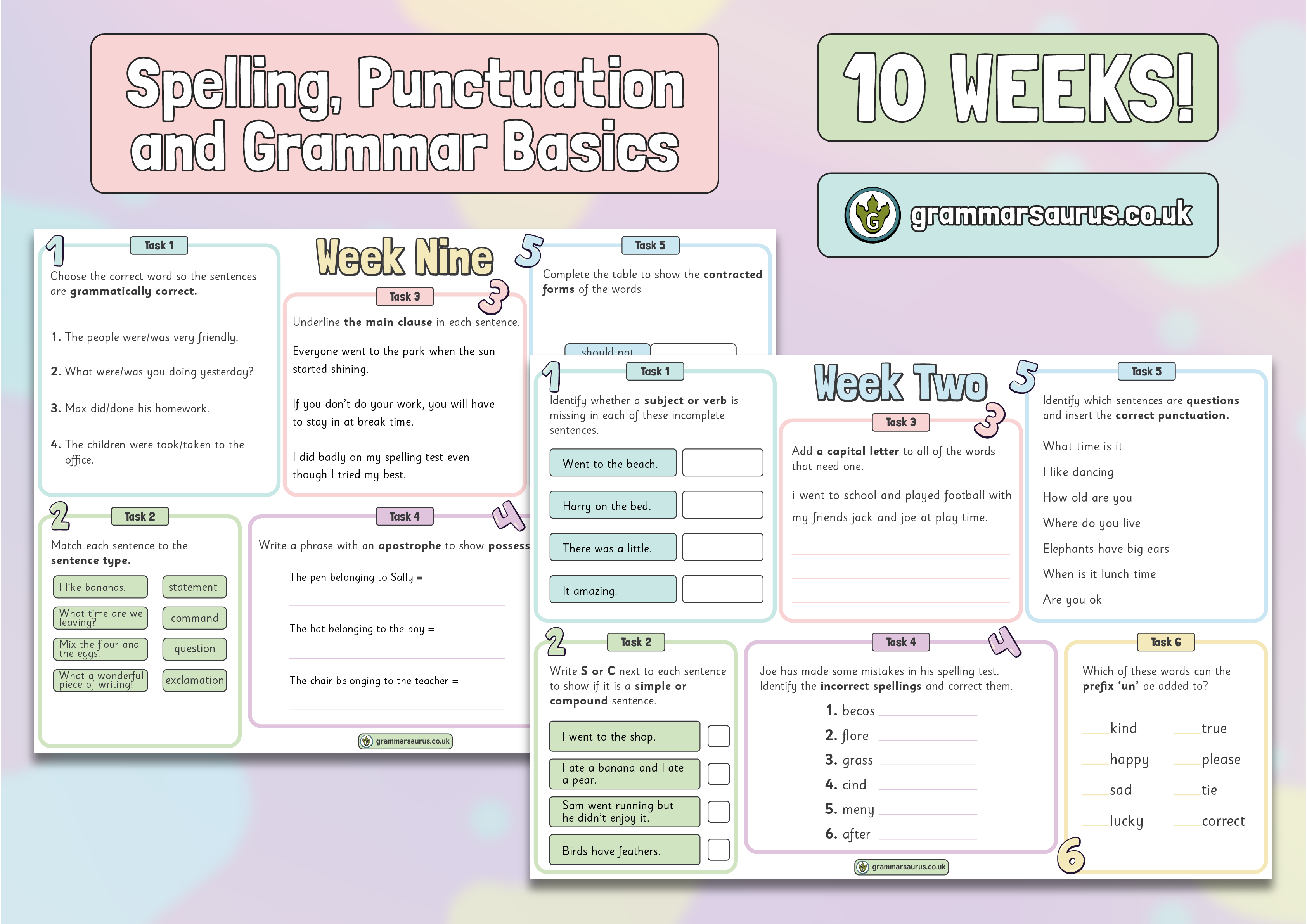 Year 3-6 Weekly SPaG Starters – The Basics